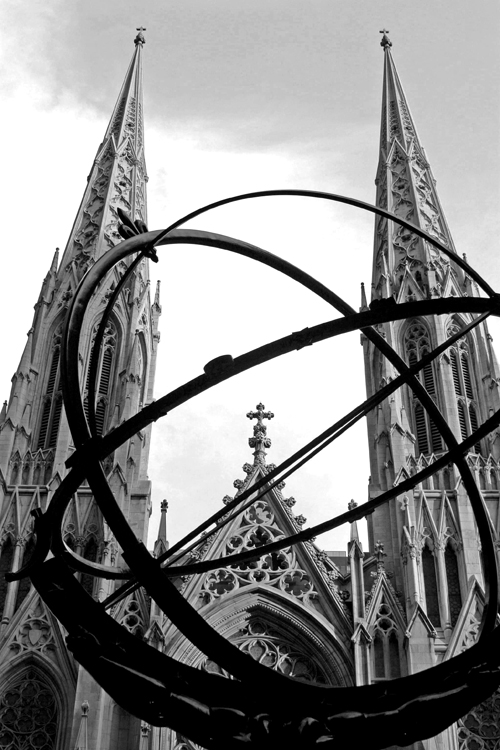 Atlas statue and St. Patrick's Cathedral church cathedral art deco Rockefeller center New York City NYC Manhattan art midtown Fifth Avenue